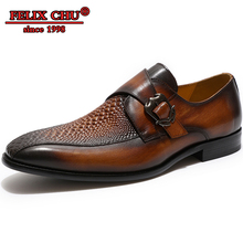 Men Genuine Leather Italian Designer Shoes Crocodile Pattern Antiskid  Buckle Pointed Toe Casual