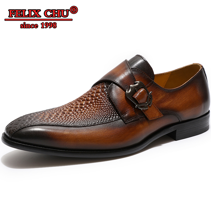 Zapatos de diseñador italiano de cuero genuino para hombre zapatos de cuero con patrón de cocodrilo hebilla antideslizante zapatos casuales de punta estrecha para hombre-in Zapatos formales from zapatos    1