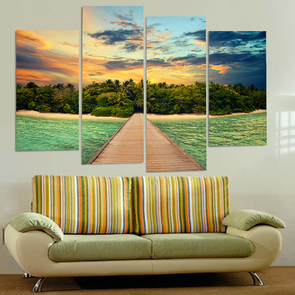 5 Panel Elk Nature Grassland Landscape Modern Home Wall Decor Canvas ...