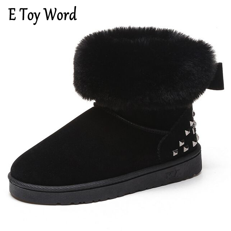 E TOY WORD Butterfly-Knot Snow Boots Women Winter Short Boots Plush Keep Warm Rivets Ankle boots Women Flat with Cotton shoes segal business writing using word processing ibm wordstar edition pr only