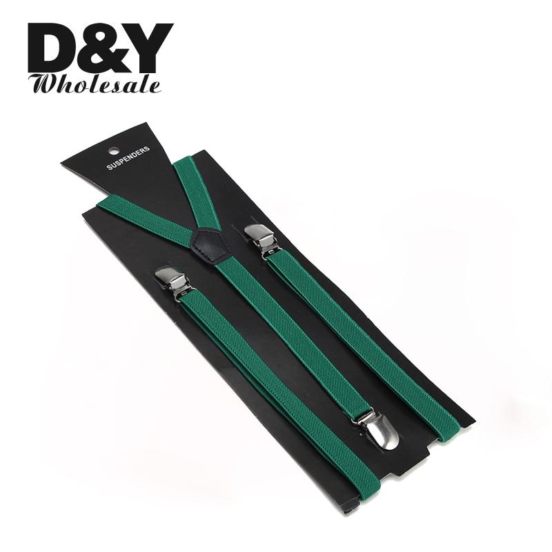 Women Men'S Shirt Suspenders For Trousers Pants Holder 1.5cm Wide Black Green Clip-on Elastic Braces Y-back Gallus Gift Design