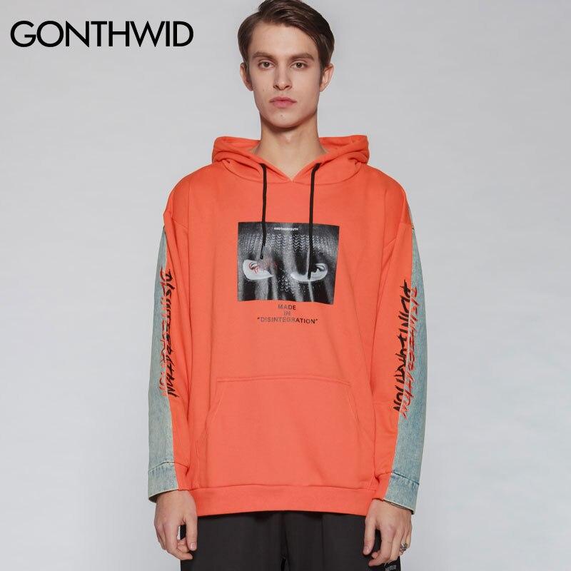 GONTHWID Denim Patchwork bordado impreso Pullover Hoodies hombres 2019 primavera otoño Hip Hop Streetwear Sudadera con capucha Swag-in Sudaderas con capucha y sudaderas from Ropa de hombre    3