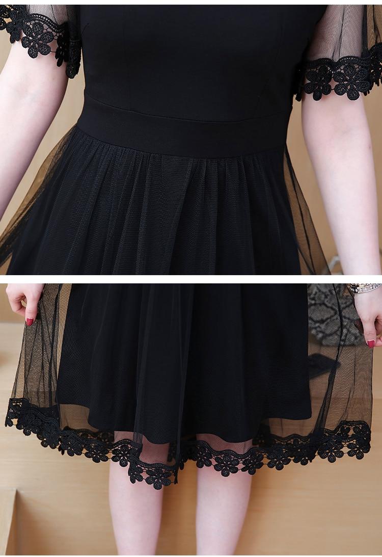 Plus Size 5xl Summer Dress Patchwork Mesh Women's Dresses Petal Sleeve Dress Female Appliques Vestido De Festa Casual Dresses 21