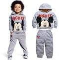 Inverno roupas de outono das crianças ternos de lã Mickey crianças hoodies + calças 2 pcs terno crianças esportes meninos roupas definir varejo
