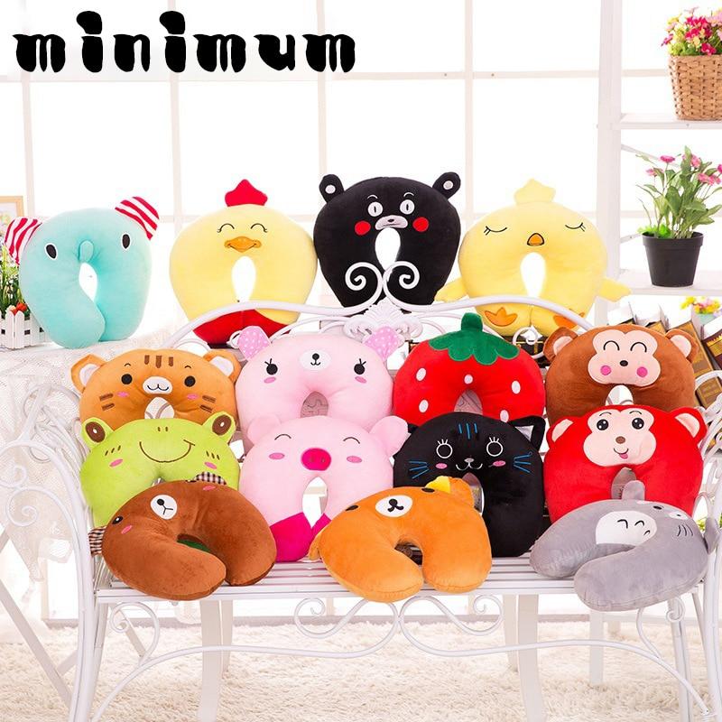 Hot Sale 9 styles U-shaped Plush Pillow Travel Cartoon Animal Car Headrest Doll