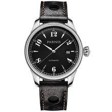 Parnis Gentel I Seriers Luminous Mens Leather Watchband  Fashion Big Dial 21 Drills Automatic Mechanical Watch Wristwatch