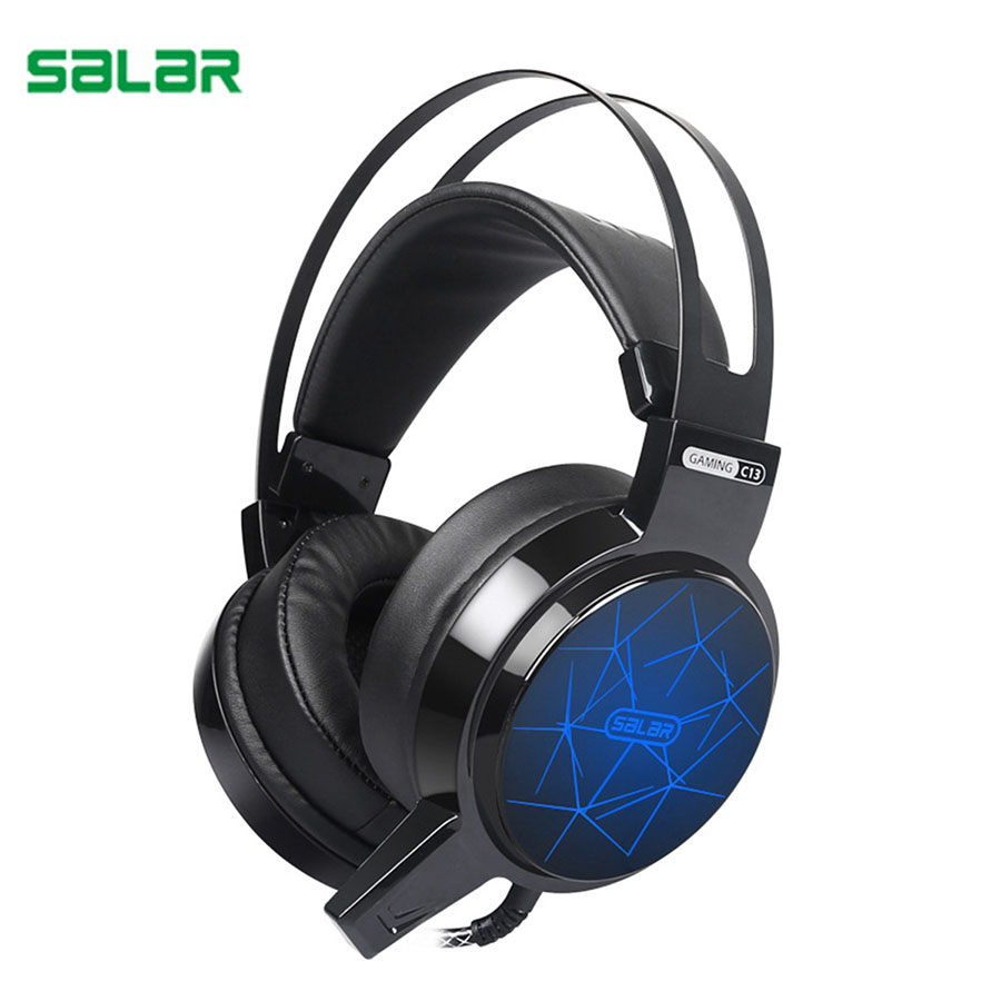 Salar C13 Wired Gaming Headset LED Light Headphone 3.5mm AUX Deep Bass Game Earphone PC Computer Headphones With Microphone Mic super bass gaming headphones with light big over ear led headphone usb with microphone phone wired game headset for computer pc