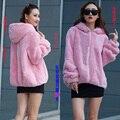 Rex Rabbit fur coat short paragraph hooded women long-sleeved whole skin real rabbit fur outwear warm plus size
