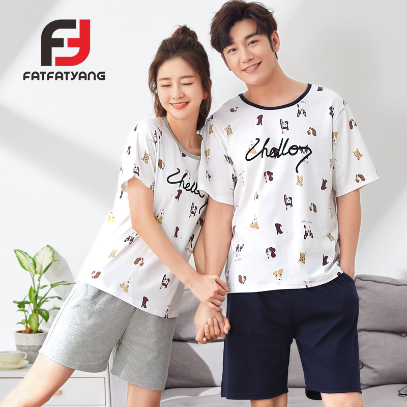 Summer 100% Cotton Couple Pajama Sets Cat/Dog Print Short Sleeve Men Women Pijamas Mujer For Lover Home Men Set Sleepwear Suit