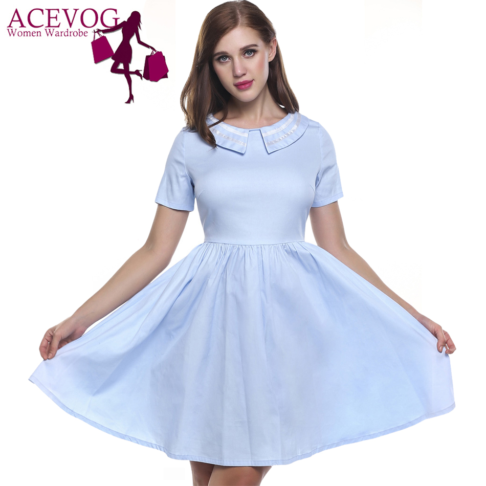 ACEVOG A-Line Summer Dress Women Casual Short Sleeve Pleated Patchwork Solid Cotton Vintage Retro Dinner Party Dresses Vestidos