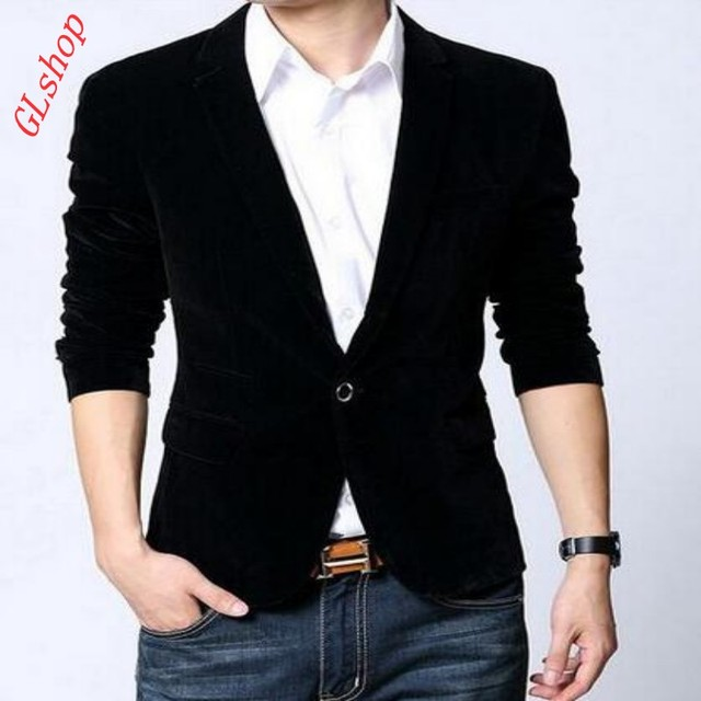 2016 Nueva Moda de Primavera Para Hombre de Terciopelo Blazer Abrigos Chaqueta Casual adultos Elegante Slim-Fit Blazers Escudo 1 Botón Trajes Abrigos Plus tamaño