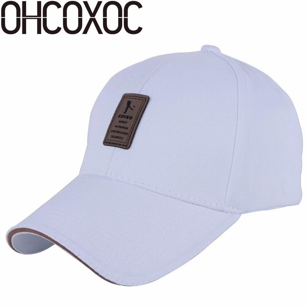 OHCOXOC new fashion men women   baseball     cap   solid white black navy grey casual hats cotton high quality golf sports   caps   hat