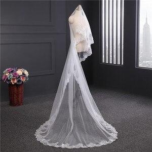 Image 4 - הגעה חדשה אביזרי חתונה קוריאני סגנון אפליקציות תחרה 3m * 1.5m קתדרלת רעלה התחרה Edge כלה רעלה ללא מסרק