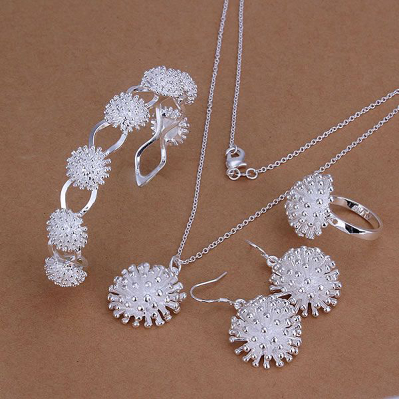 Initiative Gnimegil 2019 New 925 Stamped Silver Plated Jewelry Sets Fashion Charm Fireworks Pendant Necklace Bangle Drop Earrings Ring Removing Obstruction Wedding & Engagement Jewelry Jewelry & Accessories