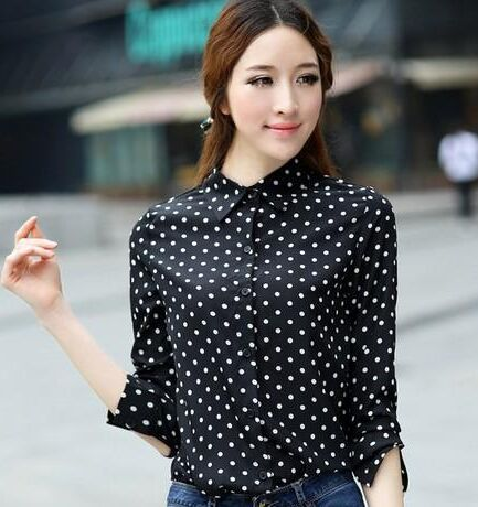 New Hot Fashion Casual Women Blouses Vintage Polka font b Dot b font Chiffon Blouse Long 3 dots shirts promotion shop for promotional 3 dots shirts on,3 Dots Womens Clothing