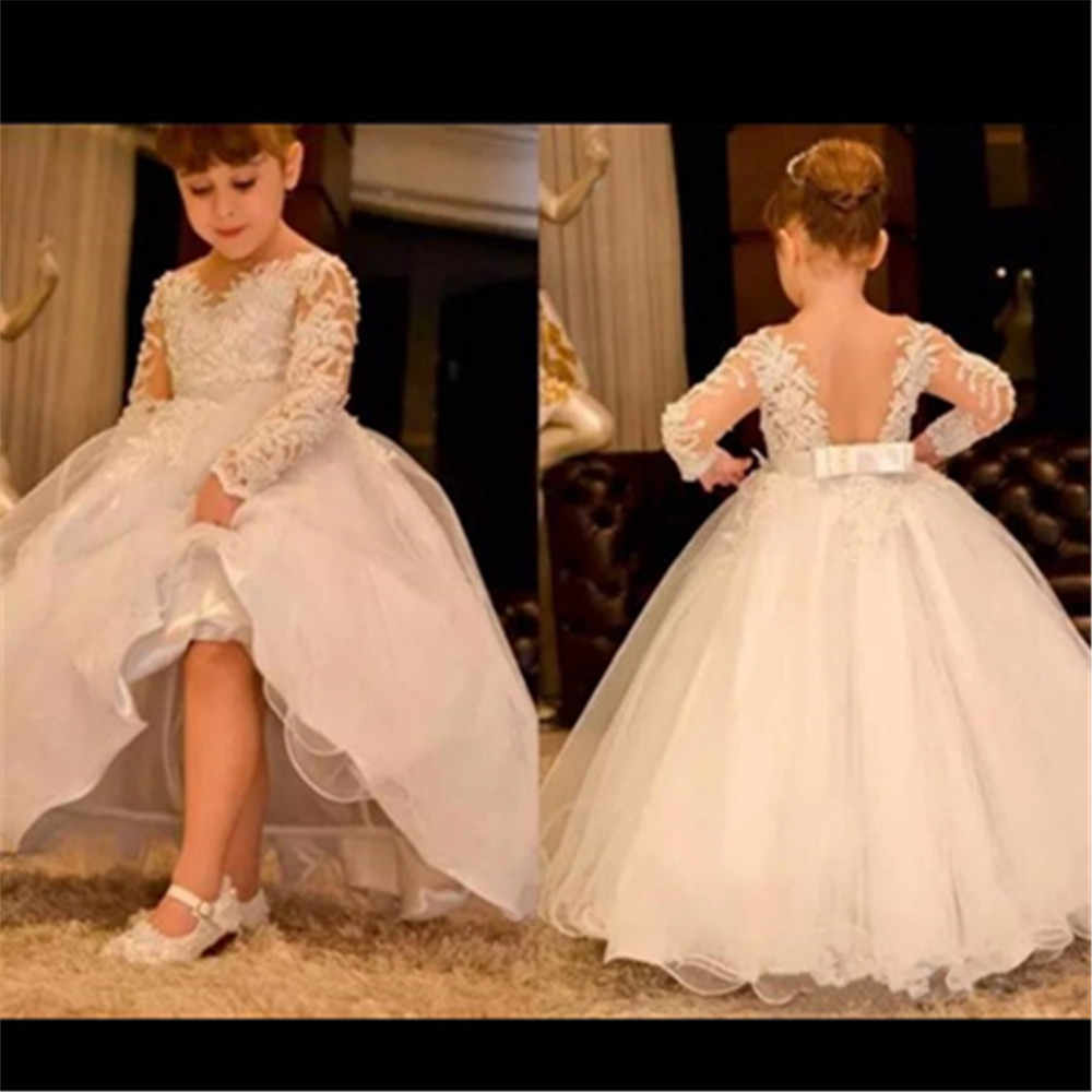 f06dd9a34 Flower Girl Dress For Wedding Lace Appliques Long Sleeves Bow Sash Birthday  Dress With Sash First