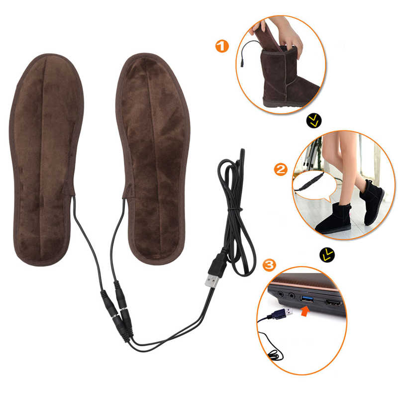 THINKTHENDO New USB Electric Powered Plush Fur Heating Insoles Winter Keep Warm  Foot Shoes Insole c166d41bd41d