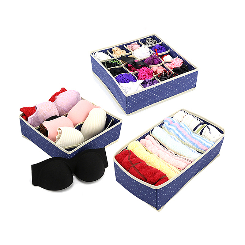 3PC/Set Home Storage Box Bins Boxes Set For Underwear Bra Socks Ties Home Closet Drawer Clothing Organizer