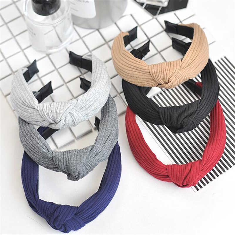 Korean Styling Bezel Fashion Women Knitted Hairband Headband Women Lady Elegant Cross Stripes Hair Accessories For Female Girls