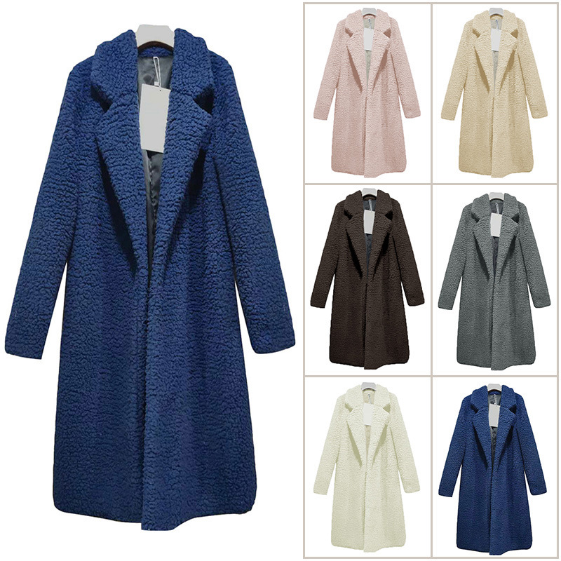 Long Coats Fleece Jackets Winter Warm Teddy Coat Cardigan Office Lady Sexy Women Wool Blends Full Tops Overcoats Plus Size 3