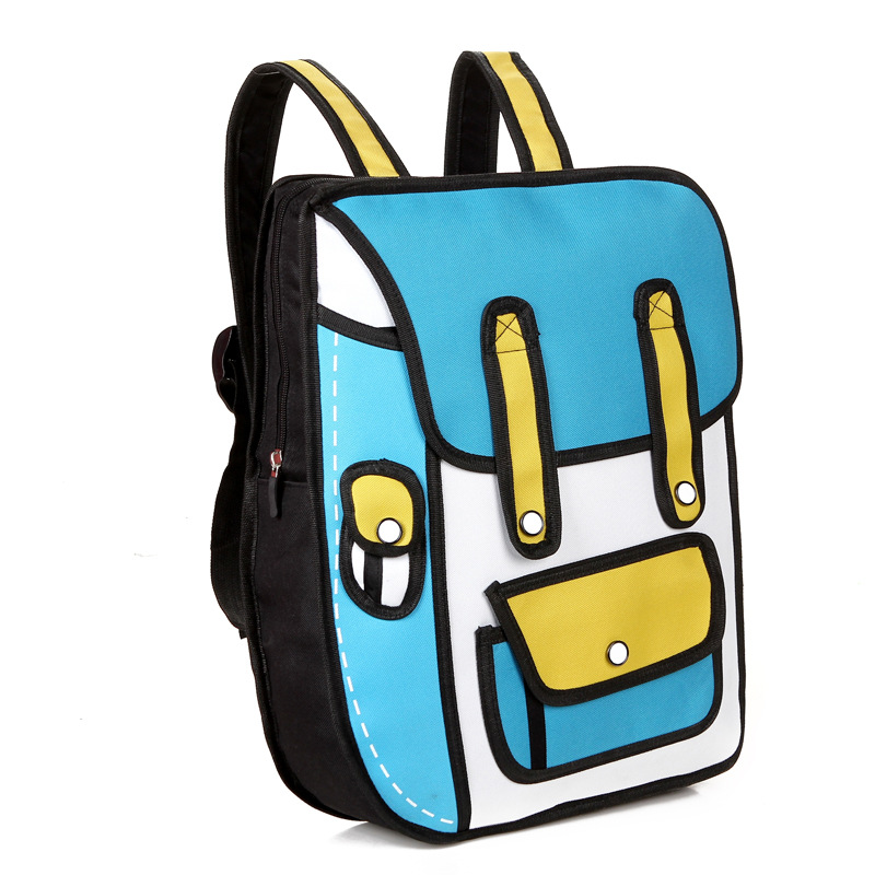 2019 New 3d Jump Style 2d Drawing Cartoon Paper Bag Comic Backpack Messenger Tote Fashion Cute Student Bags Unisex Bolos 4colors #2