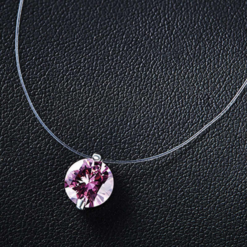 Silver dazzling zircon necklace and invisible transparent fishing line Simple pendant chain and necklace decorated for women