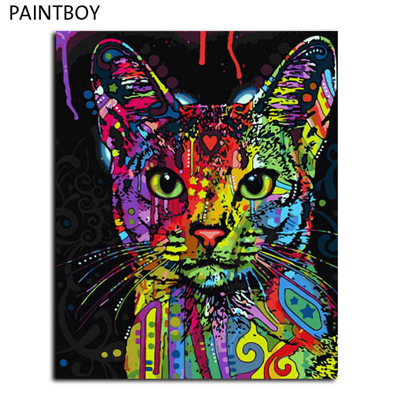 Framed Picture Painting By Numbers Abstract Animal Cat DIY Oil Painting On Canvas Home Decoration For Living Room 40*50cm
