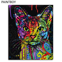 Framed Picture Painting By Numbers Abstract Animal Cat DIY Oil Painting On Canvas Home Decoration For Living Room 40*50cm(China)