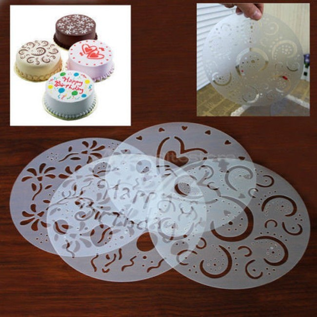 4 st / set Rundkaka Fondant hantverk Decorating Cutter Flower Heart Sugarcraft Mögelverktyg