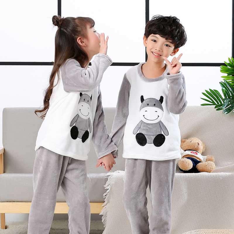 b75319cd2a48 Kids pijamas Homewear Winter Pyjama Children Pajamas Warm Flannel ...