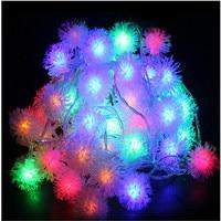 10M 80 LED Furry Ball RGB Edelweiss Snowflake Led String Light 220V 110V Colorful Christmas Outdoor