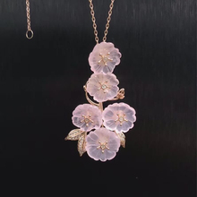 hot sale beautiful classic 925 sterling silver natural pink crystal flower brooches necklace pendant jewelry dual use deer king jewelry wholesale s925 antique sterling silver pendant brooch dual use natural lapis inlay technique