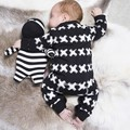 2017 New autumn spring cotton baby boy clothes long sleeve X printed baby rompers newborn clothes infant clothing