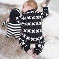 2017 Nova primavera do outono do algodão bebê menino roupas de manga longa X impresso macacão de bebê recém-nascido roupas roupas infantil