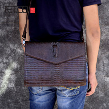 AETOO Fashion suede leather mens shoulder bag Personality crocodile striped casual diagonal backpack