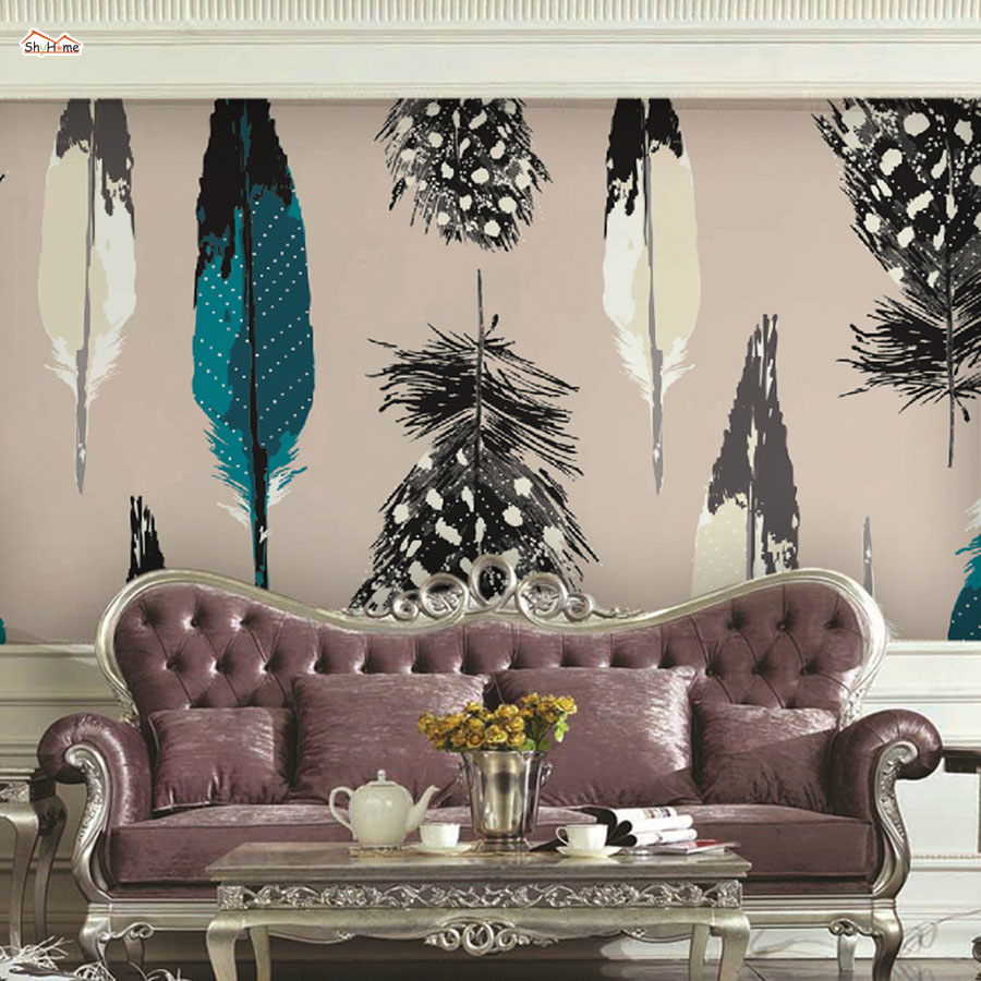 ShineHome-Cool Feather Embossed Photo WallPaper Modern for Kids Room Wallpaper 3d for Livingroom 3 d Wall Roll Murals Rolls shinehome 3d fantastic colorful balloons embossed wallpaper background mural rolls for kids living room wall paper decal art