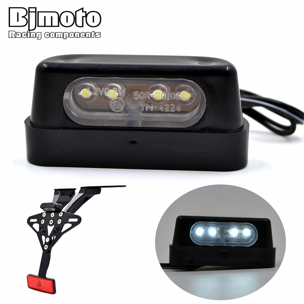 BJMOTO High Quality Mini Motorcycle Black LED License Plate LED Lamp 12V Rear Tail Number Light For Honda Kawasaki Yamaha Suzuki