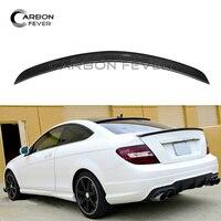 For Mercedes W204 Rear Spoiler Wing C Class 2 door Coupe C250 C300 C350 2007 2014 Carbon Fiber Spoiler