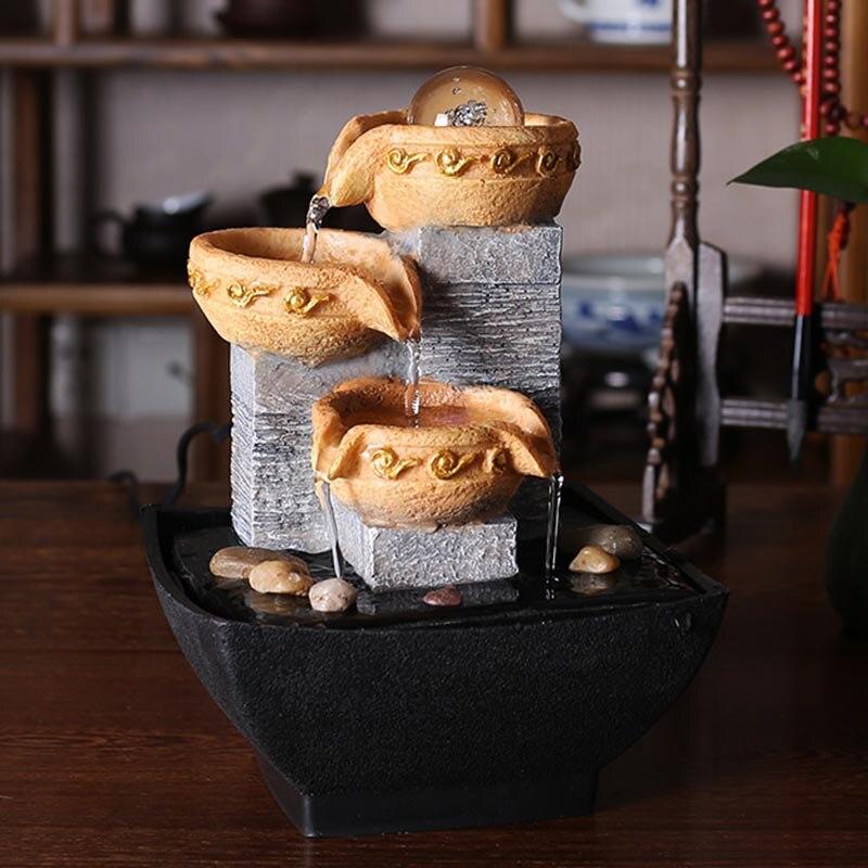 110/220 V résine coulant fontaine d'eau Feng Shui ornement bonsaï Figurines décoration artisanat décor à la maison cadeau de mariage humidificateur