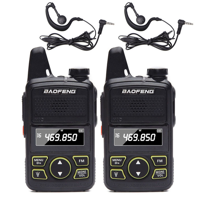 2 قطعة BAOFENG BF T1 صغيرة اتجاهين راديو UHF 400 470 ميجا هرتز 20CH BFT1 واكي تاكي محمول يسهل حملها BF T1 مع 2 سماعة