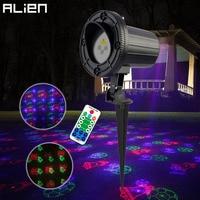 ALIEN Waterproof 12 RGB Xmas Patterns Christmas Outdoor Laser Lights Projector Moving Static Garden Holiday Lighting