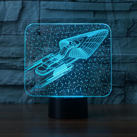 3337 3D Star Trek Style 4 LED Lamp Atmosphere Lamp 7 Color Changing Visual Illusion LED