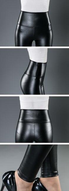 10 Colors Winter Leggings For Women High Waist Black Leather Pencil Pants Autumn Plus Size Skinny Slim Shiny Fleece Trousers 26
