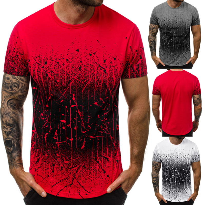 2019 Hot Style European And American Men Leisure Color Gradient T-shirt Long Round Collar T-shirt Fitness T-shirt Men