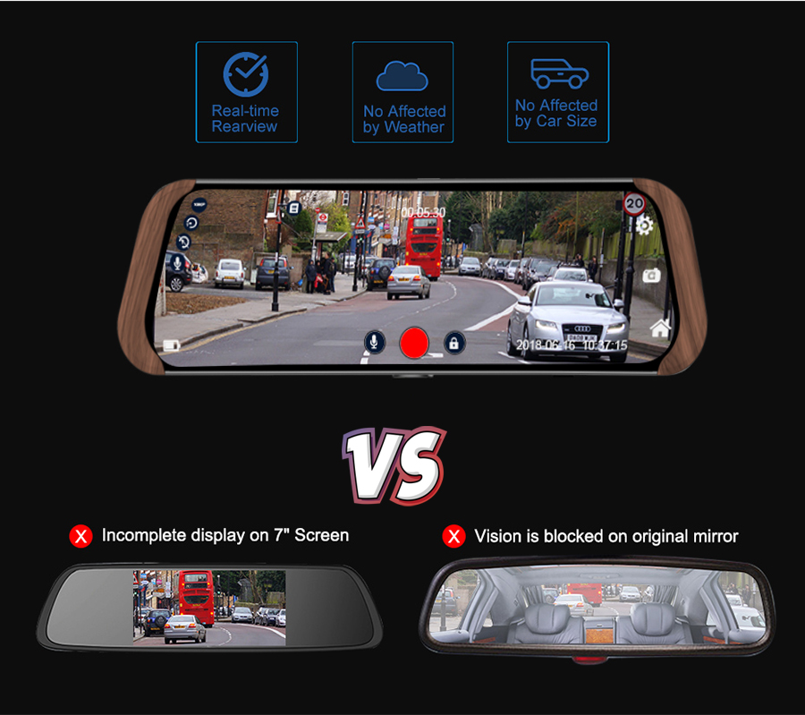 android 10-inch touchscreen dashcam