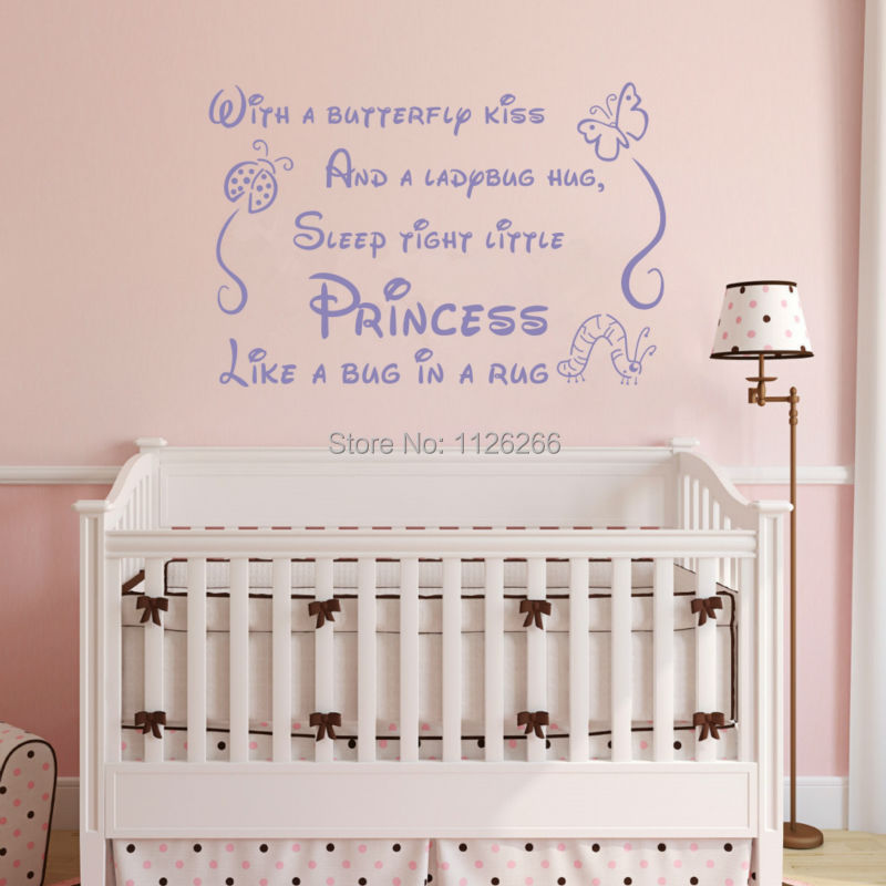 Wall Stickers for Kids Rooms Butterfly Kiss Sleep Tight Little Princess Vinyl Children Decals