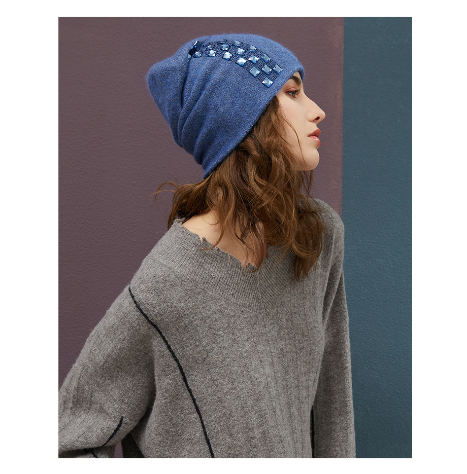 Women's Winter Beanies 2018 Stretchy Knitted Hat Flashing Glass Rhinestone Hat Female Cashmere Bonnets Elegant Warm Beanie Gorro (9)