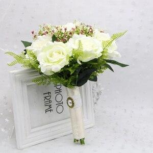 Image 3 - SexeMara boda Borgoña franela Rosa flor para novia boda novia rosa de dama de honor accesorios de fotografía de boda 10colourRr