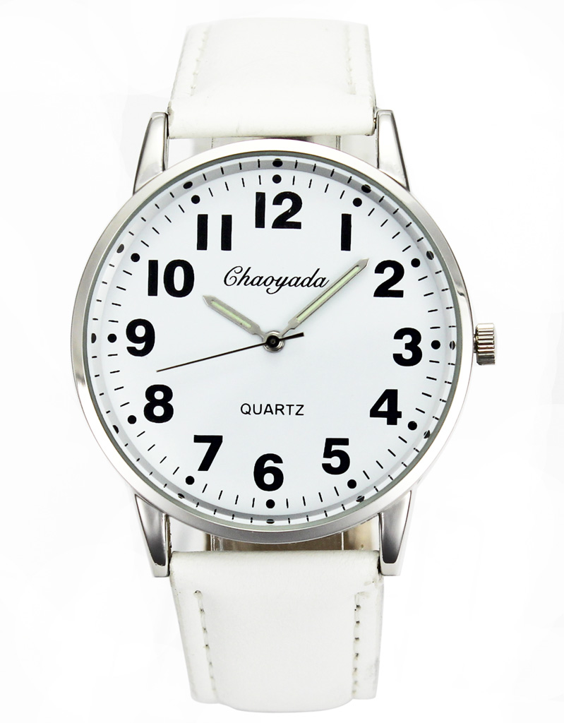 Men Women Casual Simple Black White Leather Female Male Deals Cheap Analog Quartz Wrist Watch 4