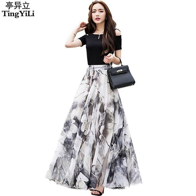 dd3ea4203 TingYiLi Long Floral Skirts Womens Holiday Beach Boho Skirt Summer Long  Skirts Elegant Ladies Maxi Chiffon Skirt 8M Big Swing